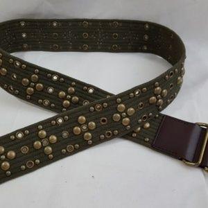 Calvin Klein Studded Cotton Leather Belt